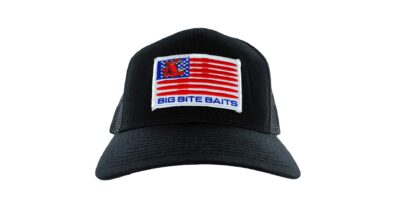 black hat with american flag patch on front